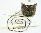 Gold Rhinestone Chain, Jet Black Crystal, (4mm / 1 Yard Qty)