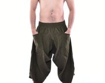 Olive Samurai Pants, Parkour Pants, Trousers, Baggy pants, Yoga Pants, Handmade 100% Cotton(Unisex) One Size Fit All