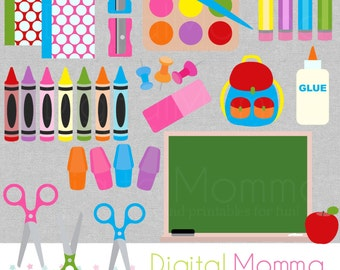 Fun & Bright School Supplies Clipart, Back To School Graphics, Personal, Commercial Use, Instant Download!