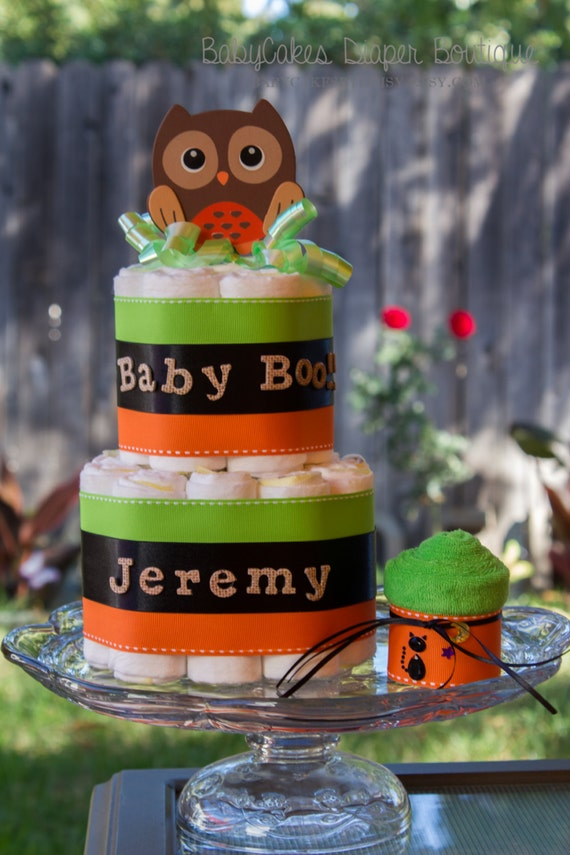 Halloween Diaper Cake | Green Orange Diaper Cake | Small 2 Tier Diaper Cake | Halloween Baby | Halloween Baby Shower | Diaper Cake