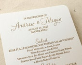 Letterpress Dinner Menus - 1 color - Custom, modern, traditional, classic, calligraphy, gold, blush, Script, Swirls, Simple, Black, Wedding