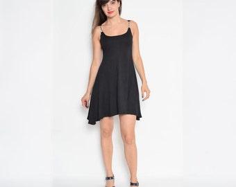 Vintage 90's Clasp Strap Black Mini Dress