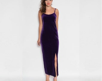 Vintage 90's Purple Velvet Maxi Slit Dress