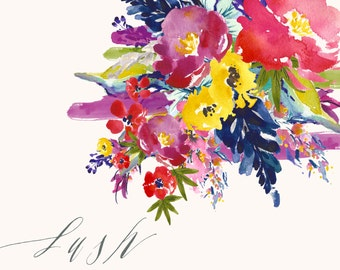Flower Watercolour Clipart Collection, Hand Painted Graphics - Lush