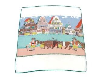 Vintage Novelty Hankie . Bavarian / Tirol Style Handkerchief .