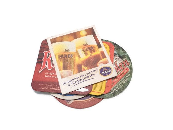 Belgian beer coasters cardboard beer mats vintage barware - Cardboard beer coasters ...
