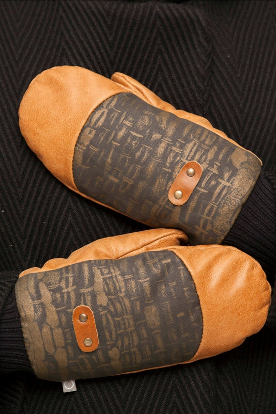 ALASKA - leather and polycotton caneva mittens for womens - tan brown