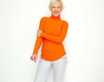 Orange Turtleneck, Orange Sweater, Turtleneck Sweater, Mock Neck Shirt, Fuzzy Sweater, Womens Turtleneck, Bodycon Turtleneck