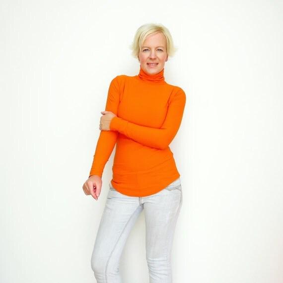 Orange Turtleneck Orange Sweater Turtleneck Sweater Mock