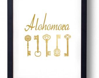 Alohomora Gold Print Harry Potter Art || INSTANT DOWNLOAD