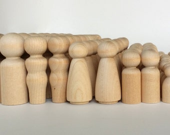 100 Wooden Peg Dolls / 20 Families of 5 / Peg People / Waldorf / Unfinished Maple Ready to Paint / Twenty Families of Five