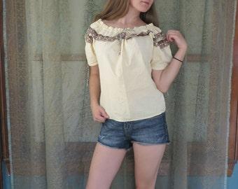 1960s Cream Off the Shoulder Peasant Blouse Eyelet Ruffle Beach Hippie Boho 60s Beige Top Peasant Shirt Adjustable 60s Cotton Top