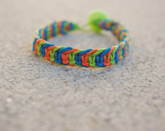 Green, Oragne, and Blue Fishbone Hemp Bracelet