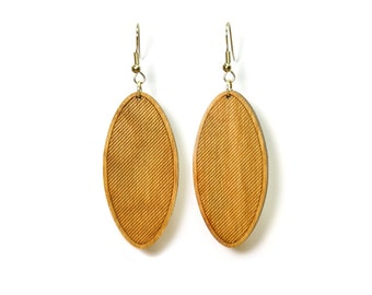 Striped Oval Earrings - Light Roast