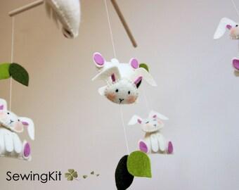 baby mobile bunny, wool felt baby mobile, nursery mobile, rabbit mobile. girl, custom colors natural mobile, crib mobile, sewing kit