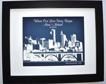 First Anniversary Gift For Her Or Him Skyline Personalized 1st Anniversary Present Paper Anniversary Gift For Him Valentine Gift For Man