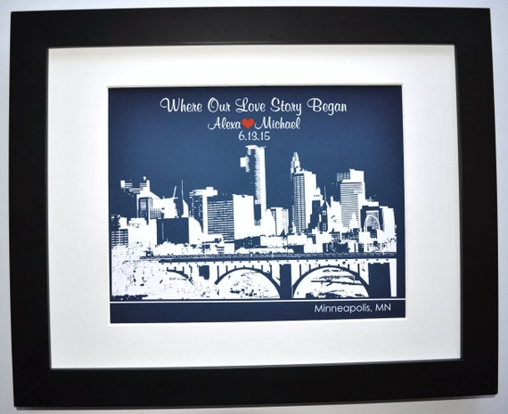 First anniversary gift for her or him skyline by