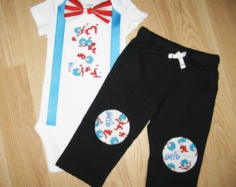 Dr seuss party Thing 1 and Thing 2 birthday outfit - Dr seuss birthday - Thing 1 and 2 outfit - Dr suess birthday - Boys 1st birthday outfit