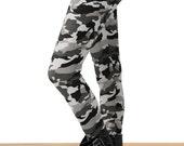 Grunge Gray Camo Printed Leggings - One Size