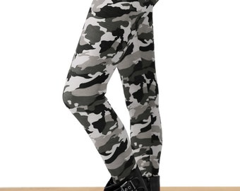 Grunge Gray Camo Printed Leggings - One Size