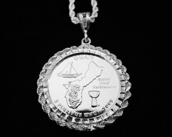 Guam Silver Drop w Matching Sterling Rope Chain