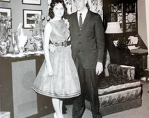 Retro Photograph Teen Couple Before the Prom Mid Century B&W