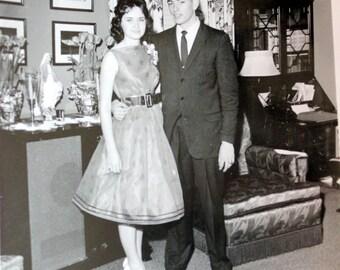 Retro Photograph Teen Couple Before the Prom Mid Century B&W