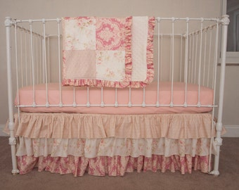 Bumperless Vintage Floral  Rose Pink and Ivory Juliet Collection Baby Girl Crib / Cot Bedding with Blanket