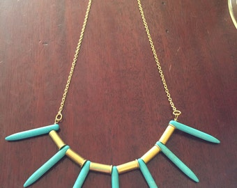 Gorgeous Spiked Turquoise and Shell Casing Necklace!