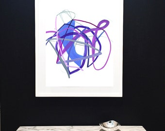 Original Art-Painting on Paper-Air Drawing-Violet-Purple-Minimalist-Lines-Graphic-Airy-Modern Art-Modern Drawing-Abstract-Spring-Flowers