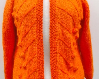 1960 Women's Hand Knit Sweater, 1960s ILARIA Orange Caridgan Vintage Size 16 Made in Italy, 60s Pumpkin Sweater Spring Fall Weather Fashion