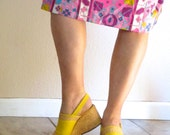 Vintage 70s Shoe. Open Peep Toe Yellow Espadrille Wedge. Boho Chic Vegan Linen Platform Sandal. Summer Slingback. Corelli Italy. US 7M