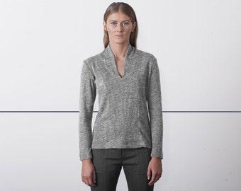 Womens tops - womens shirt, Grey Blouse, winter top, long sleeve shirt - womens clothing