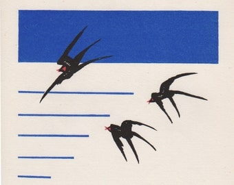Flying Swallows. Modern Abstract Woodcut. Japanese Woodblock Print by Shin Makoto Kobayashi. Sosaku Hanga. 1985.