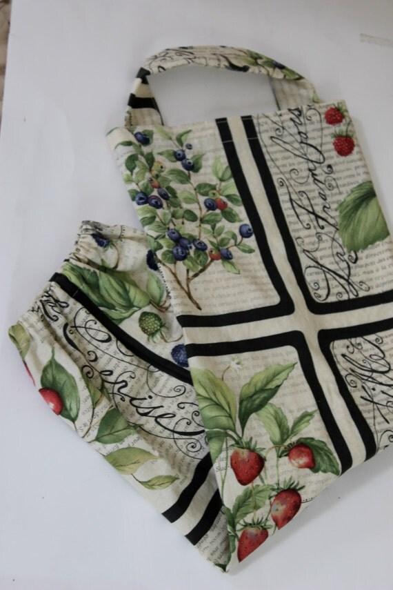 Summer berries  fabric grocery bag holder, kitchen bag holder accessory, garbage bag holder, plastic bag organizer