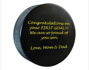 Personalized Hockey Puck, Custom Hockey Puck, First Goal Puck, Hockey Decor, Hockey Gift, Engraved Hockey Gifts, Hockey Team Gift, HC09
