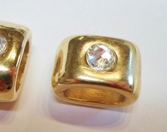 Gold Clear Swarovski Crystal Slider 10x5mm opening