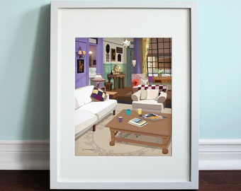Monica's Apartment Living Room - Friends, Friends TV Show Art Print, TV sitcom