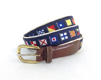 Leather & Woven Sailing Nautical Flag Belt - size 41-44