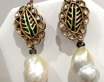 Early Indian pearl Mughal Earrings 1870-1905