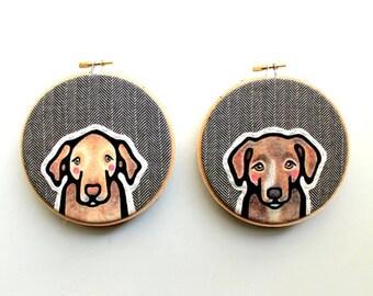 Custom Pet Portrait - TWO Custom Portraits - Custom Dog Portrait - Pet Portrait - Embroidery Hoop Art - Pet Lovers - Gift for Pet Lovers