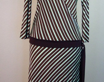 1970s Brown & Mint Green Diagonal Stripe Drop Waist Dress/1920s style Rockibilly