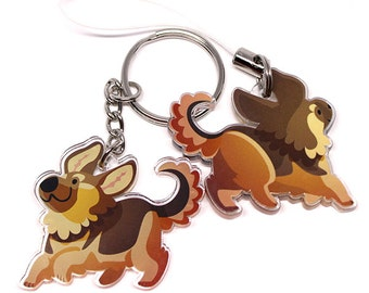 Cute German Shepherd Keychain, Phone Charm, dog keychain, Dog lover, dog owner, German Shepherd, puppy, puppies, animal lover, kawaii