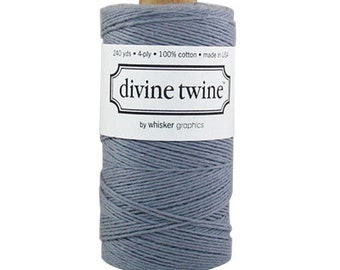 SALE 20% OFF - Solid GRAY Divine Twine 240 Yards Spool of Bakers Twine by Whisker Graphics