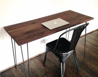"The ""Montclair"" Desk - Reclaimed Black Walnut & Hairpin Legs"