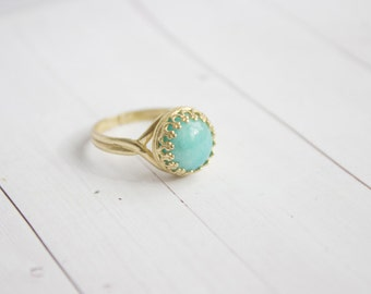 Filigree Amazonite Brass Ring