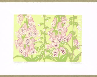 Foxglove, Foxglove print, Foxglove wild flower linoprint - Limited Edition Linocut Reduction Print