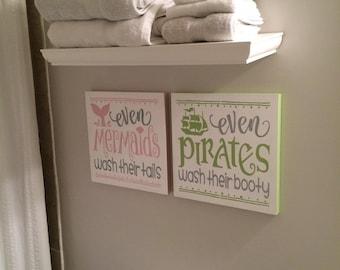 pirate and mermaid bathroom pirate decor even pirates wash their booty even mermaids wash their tails boy and girl bathroom kids bathroom