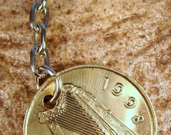 1998 Old Large 20p Twenty Pence Fiche Pingin Irish Coin Keyring Key Chain Fob 19th Birthday