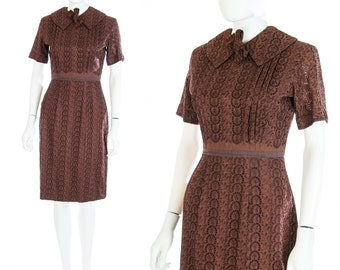 Vintage 1940s 1950s Brown Cotton Eyelet Wiggle Day Dress